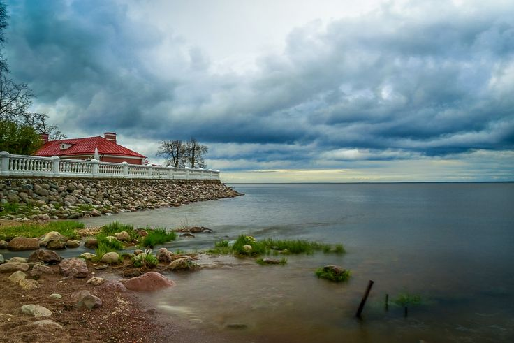 A storm approaches the shores of he Baltic at Peterhof, just outside Saint Petersburg, Russia.