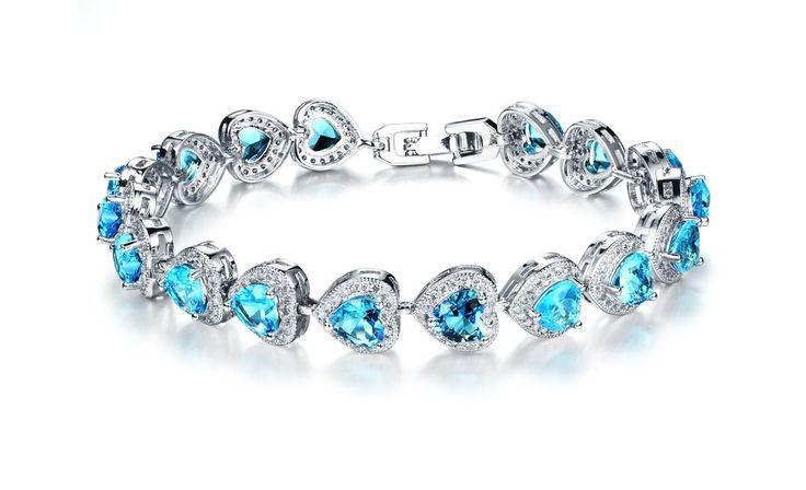 Girl Era Gorgeous Heart Gem Stone Silver Tennis Bracelet Friendship Bracelets(blue):