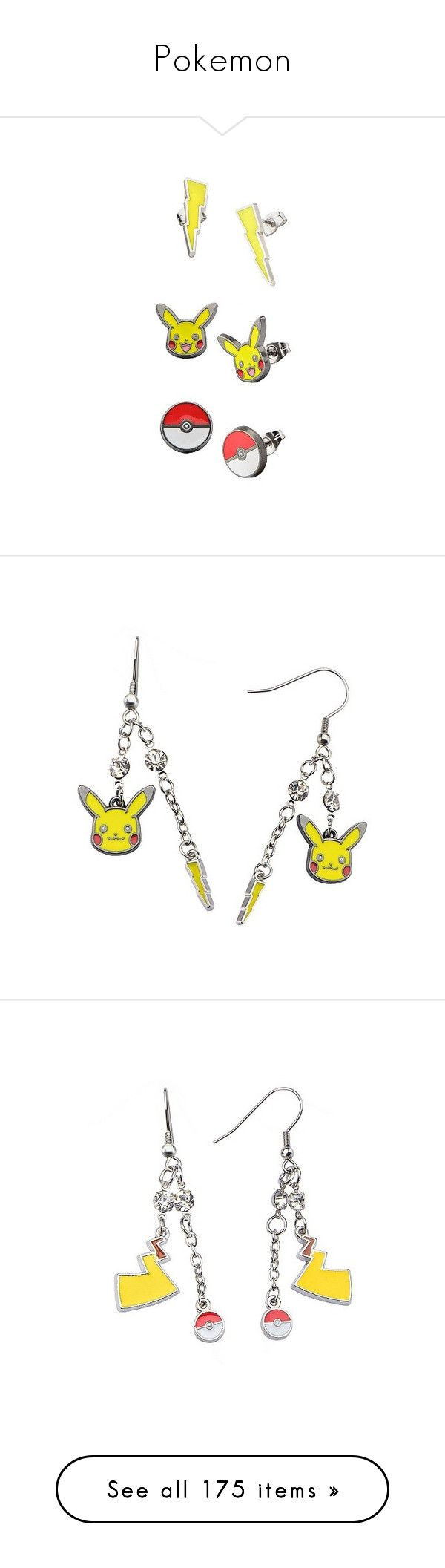 """Pokemon"" by anillia ❤ liked on Polyvore featuring jewelry, earrings, multi colored stud earrings, earring jewelry, multi colored earrings, lightning bolt earrings, multi color stud earrings, yellow, special occasion jewelry and stainless steel earrings"