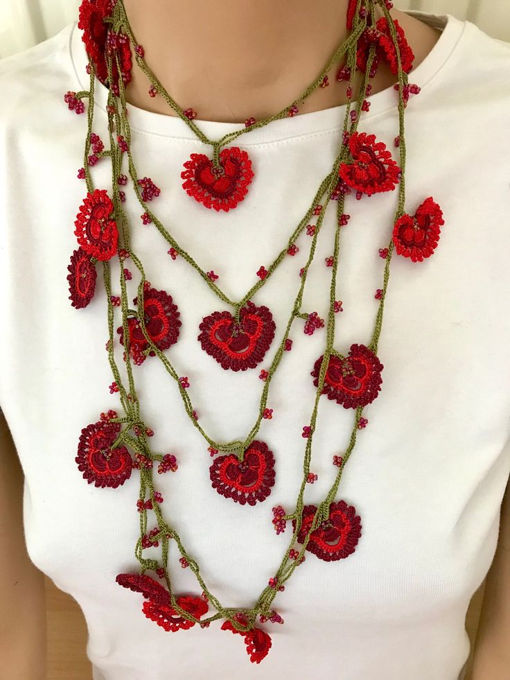 Women red heart necklace,burgundy lariat, sexy choker, crochet necklace, oya, anatolian, designer necklace, fashion jewelry, boho, vintage. by BendisGalata on Etsy