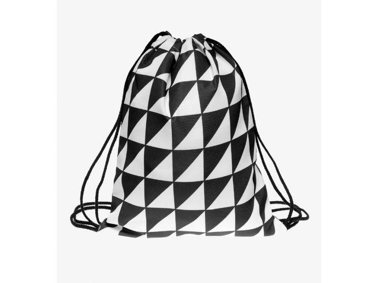 Vak na záda Gymsack s potiskem - Triangles Black-white