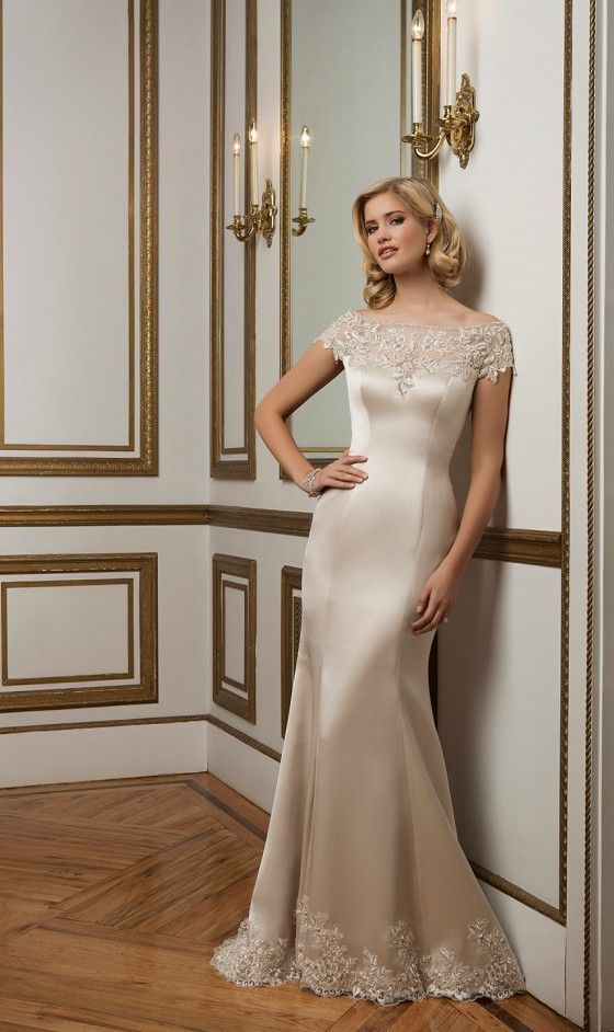 Champagne Wedding Dress for Brides Over 40,50,60. Colored Wedding Dress Ideas for Older Brides.