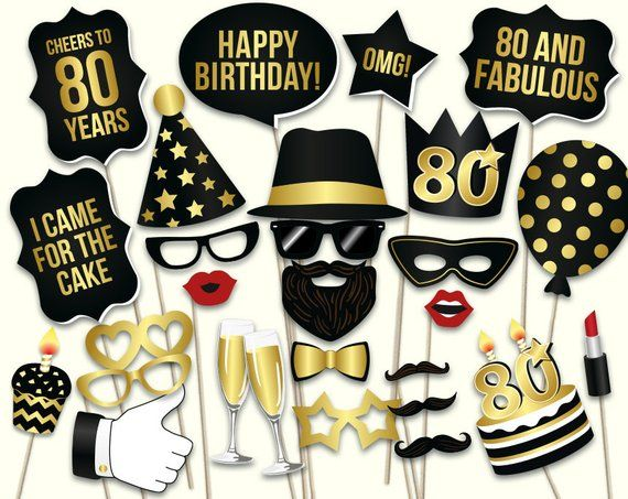 80th Birthday Photo Booth Props Printable PDF Black And Gold Eightietieth Party Supplies