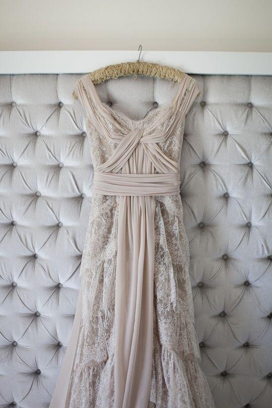 Romantic blush pink custom wedding gown shot by Lizelle Lotter.