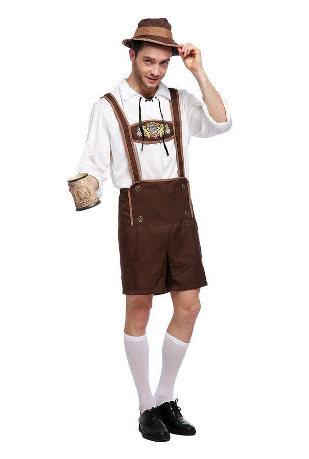 Mens Red /& Brown Oktoberfest German Beer Man Lederhosen Costume All Sizes
