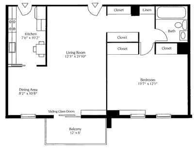 one bedroom house plans   Rental Rates: from $1, 304 -$1, 411