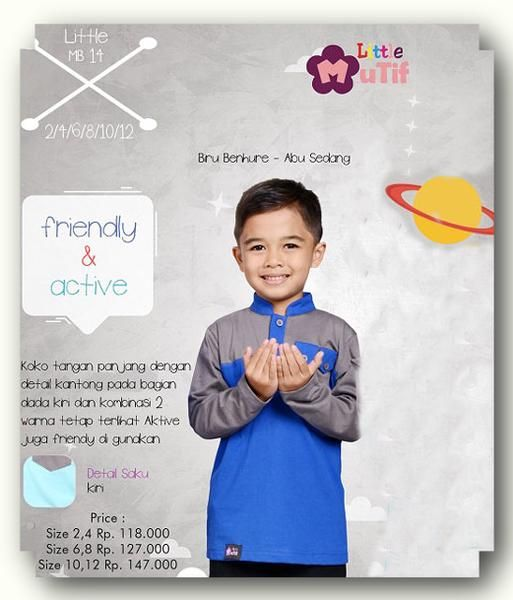 Baju Anak Little Mutif Boy LMB-14 Biru Benhur