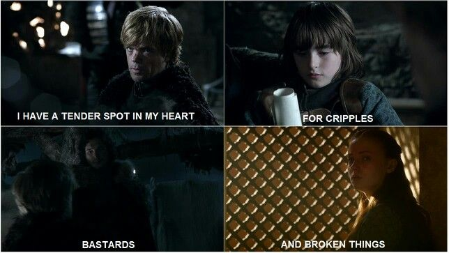 Game of Thrones <3 this is cool. Tyrion Lannister featuring Bran Stark, Jon Snow, and Sansa Stark.