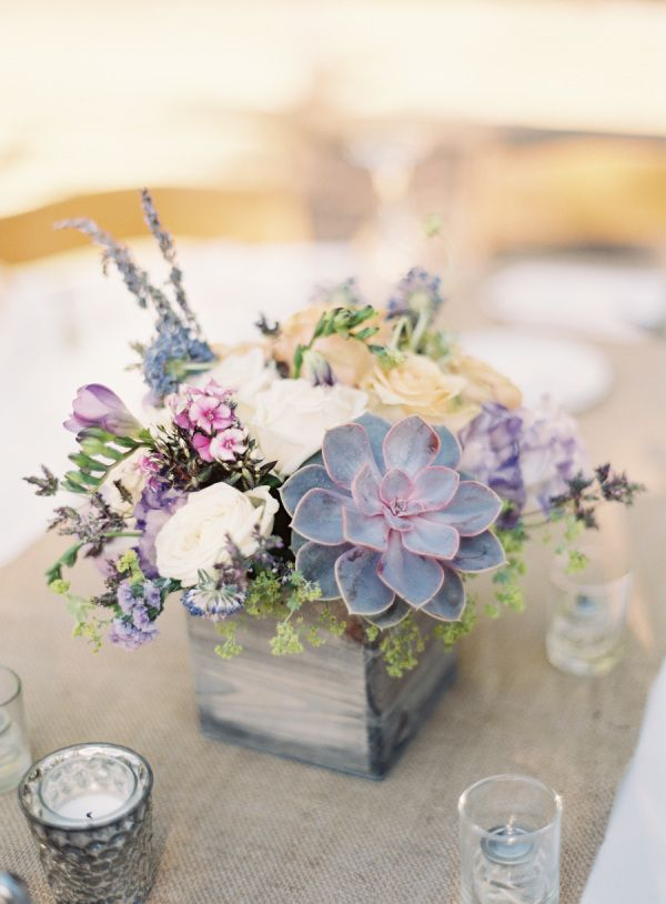 nice idea for wedding table arrangements with succulents, in a wooden box.. love these soft grey/ lilac hues  Wedding at Temecula Creek Inn - Style Me Pretty