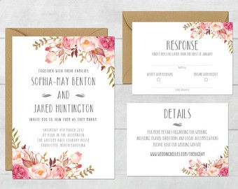 Rustic Wedding Invite Floral Wedding by DarlingPaperCompany