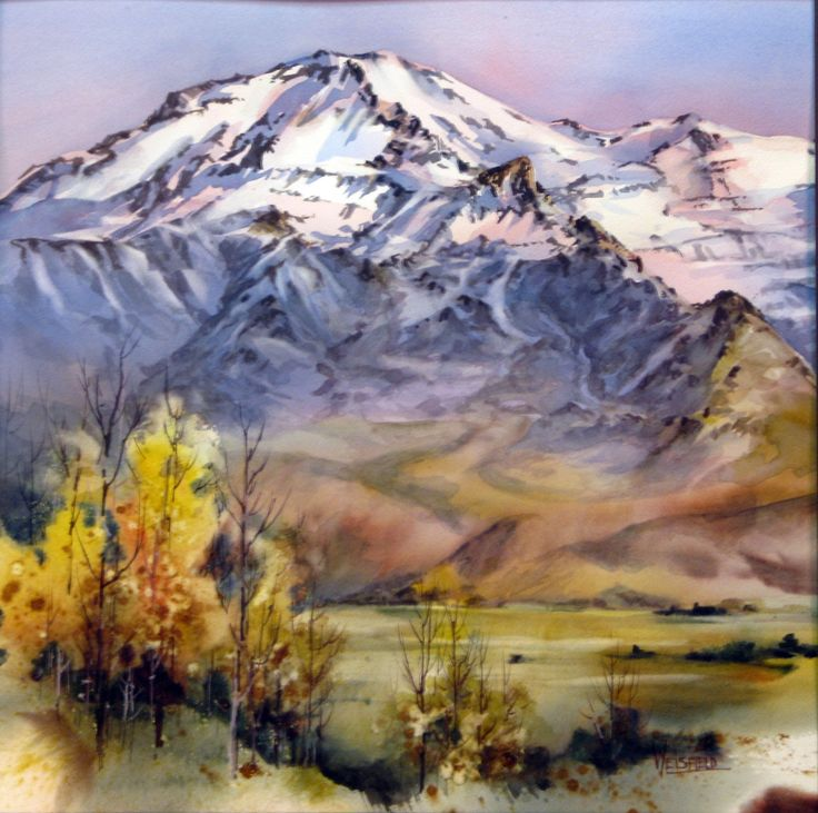 """""""Hidden Valley"""" - Original watercolor, 24""""x24"""".  Beautifully rendered painting of snow covered mountains with a fall foliage foreground. #Watercolor"""