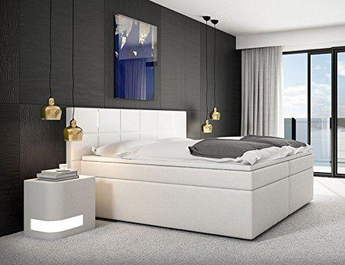 SAM® Design Boxspringbett Salerno LED mit Samolux®-Bezug in weiß, LED-Beleuchtung, Bonellfederkern, 7-Zonen H2 und H3 Taschenfederkern-Matratzen, Viscoschaum-Topper, Memory-Effekt, optimale Einstiegshöhe, 200 x 200 cm