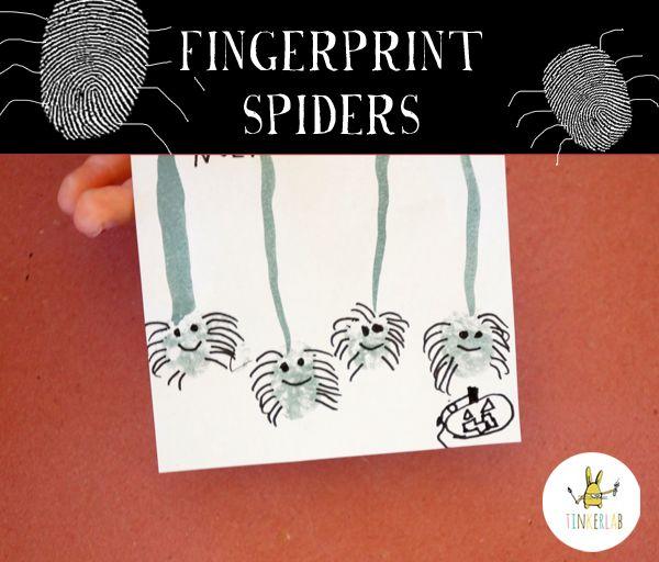 spinnetjes van duimafdrukken, pootjes zelf tekenen!