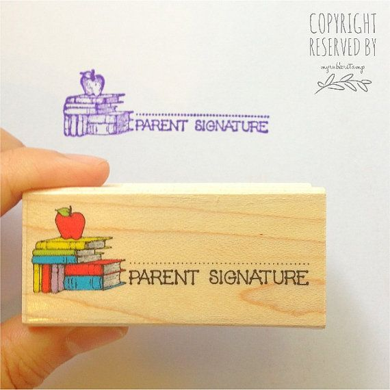 Parent Signature with Apple Rubber Stamp • Teacher Stamp • Classroom Supplies • School Stamp •Signature Stamp • Woodblock Craft Stamp (D323)...