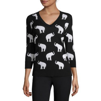 Liz Claiborne® 3/4-Sleeve Elephant Sweater - Tall