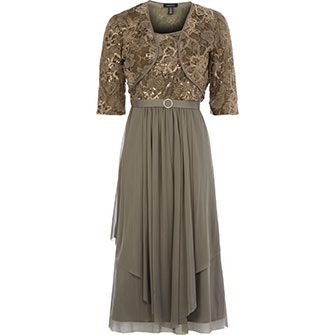 Taupe Lace Dress & Bolero Set
