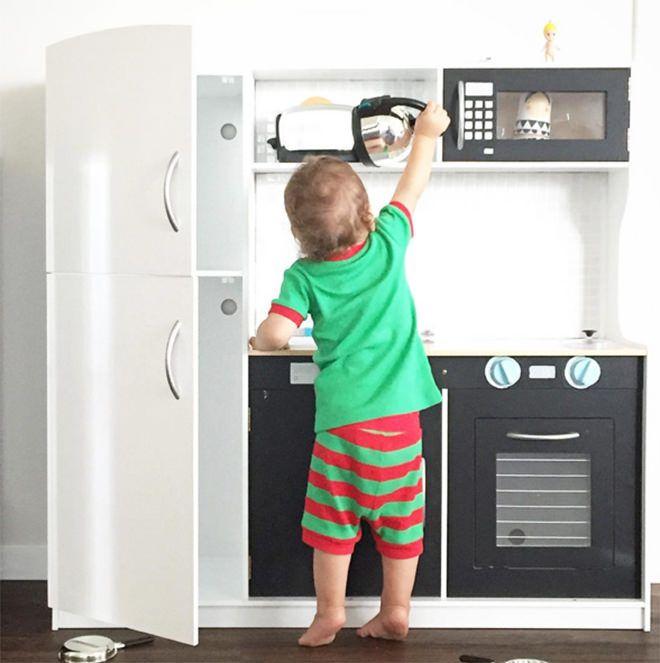 Monochrome fun - the best hacks of the Kmart Kids Kitchen.