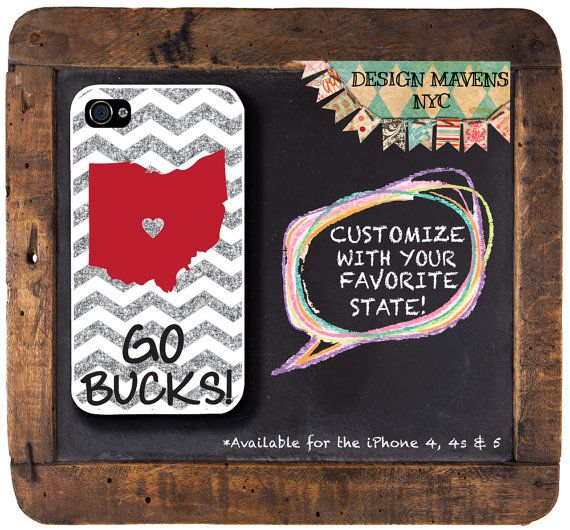 Personalized iPhone Case, Ohio State Love iPhone Case, Not Real Glitter, Fits iPhone 4, iPhone 4s, iPhone 5, iPhone 5s, Phone Cover on Etsy, $16.99