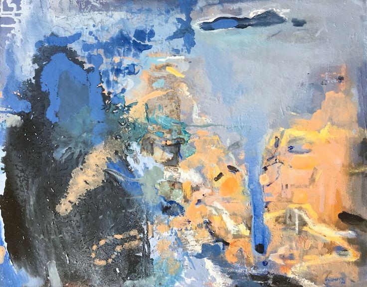 Elaine d'Esterre - Evaporation at Lake Mungo 3, 2016, oil on board, 62x76 cm. Art blog at http://elainedesterreart.com/