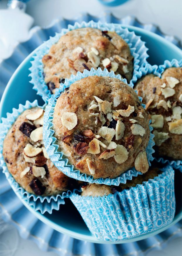Grove muffins med chokolade og nødder