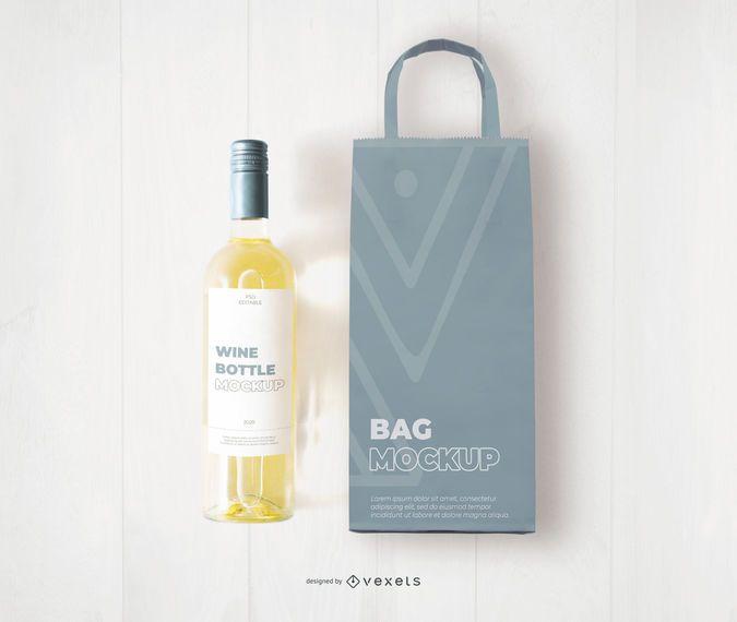 Vodka bottle mockup by smarty mockups on @creativemarket. White Wine Bag And Bottle Mockup Ad Wine White Bottle Mockup Bag In 2021 Bottle Mockup Bottle Wine Brochures