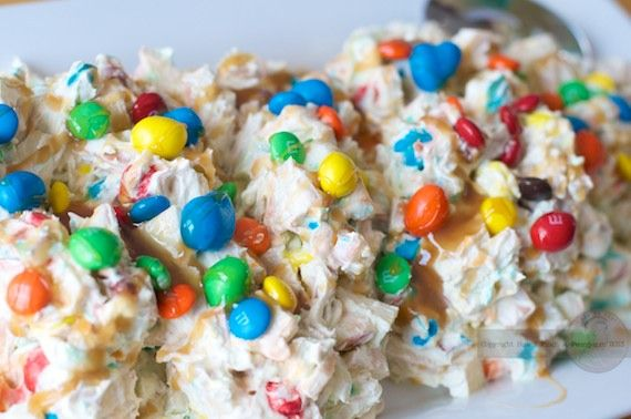 M&M Munch Salad recipe when you need to take a dessert to a party! It is so yummy everyone will be asking you for the recipe!  #ad #cbias