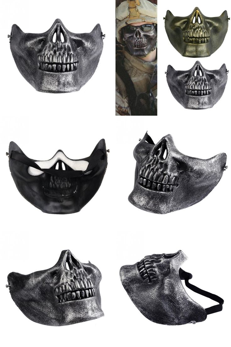 [Visit to Buy] 1pcs Skull Skeleton Masks Gift Horror Army Fans Stage Props Airsoft Paintball Half Face Protective Mask For Halloween #Advertisement