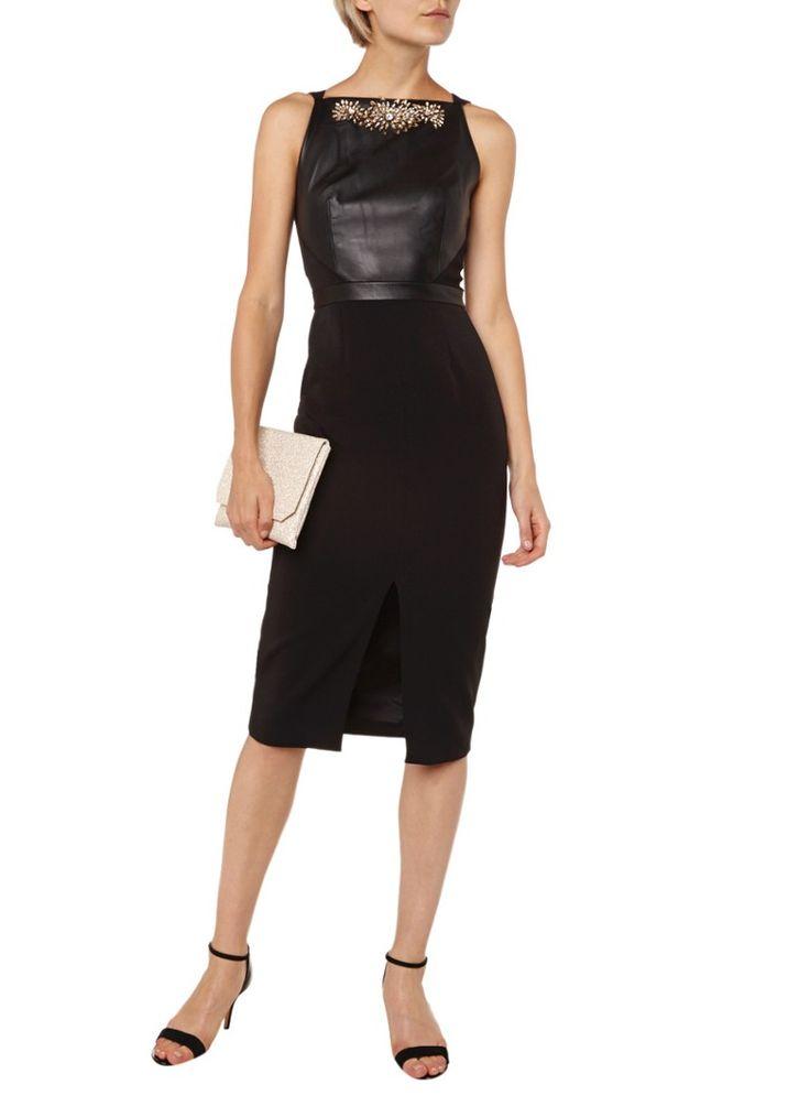 Ted Baker Midi-jurk met top van leer met strass-stenen • de Bijenkorf