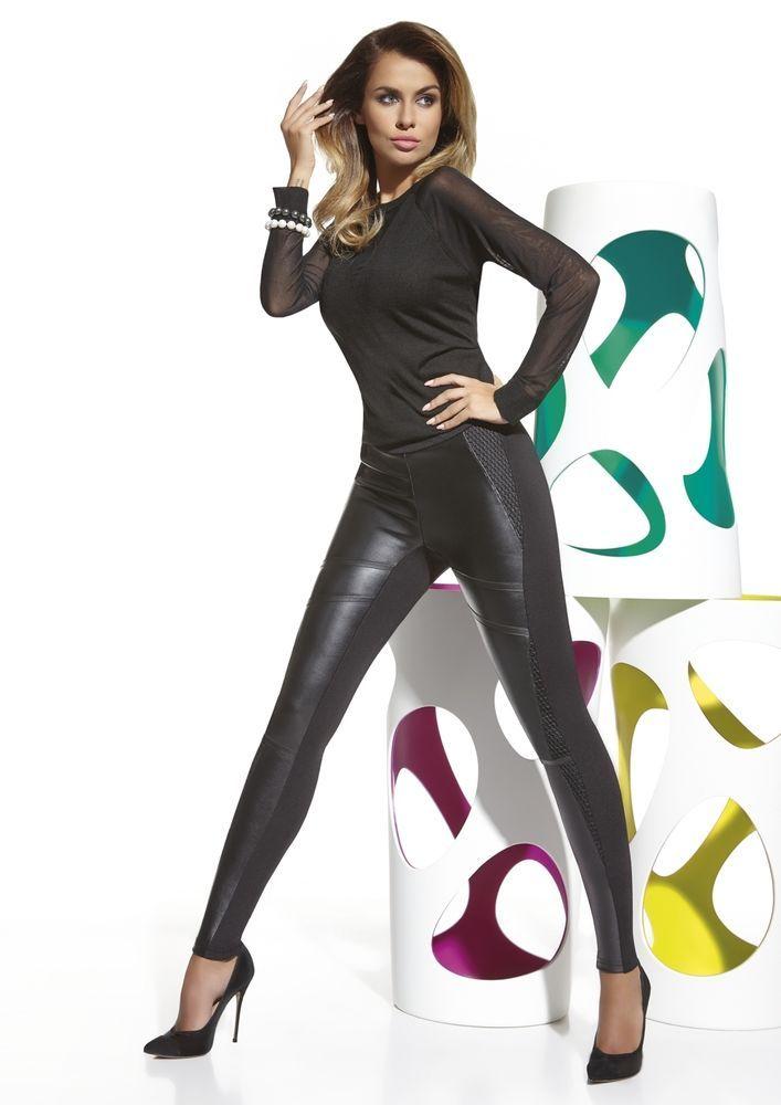 Leggings tregging noir femme slim pantalon moulant bi-matiere BAS BLEU taylor