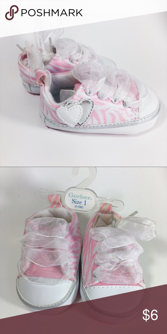 BOGO FREE ⭐️ Pink & White Zebra Pink & white zebra shoes size 0-3 months [size 1] with white ribbon laces Shoes