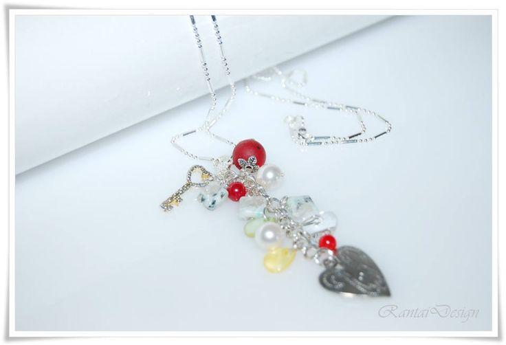 Halskette 925 Silber Stab Ballkette Design Kette Wechselanhänger Dalmatiner Jaspis Crystal Pearls von rantaiDesign auf Etsy