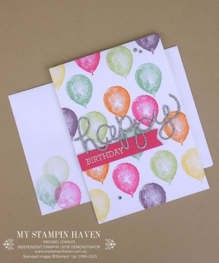 This card made with the Balloon Builders stamp set is so colorful and fun!