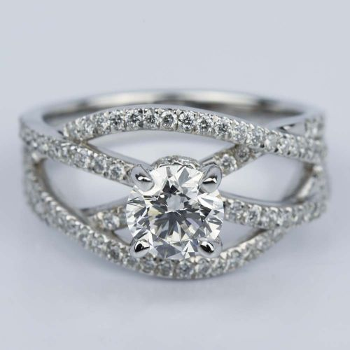 Double Cross Split Shank Diamond Engagement Ring (0.91 ct.) | Image 01