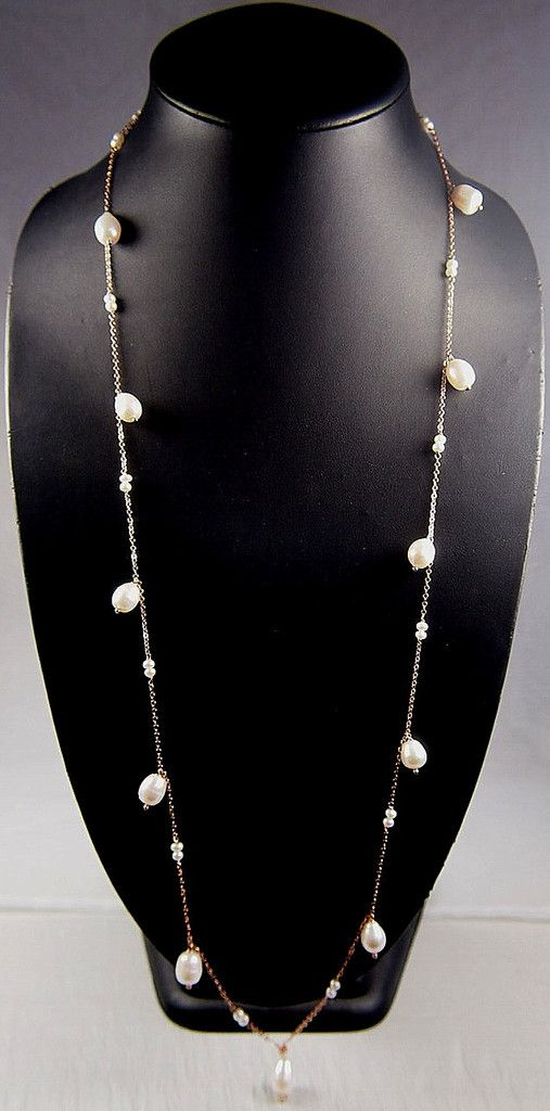 Jewellery-Necklace-Designer-Simply Italian - 18ct Rose gold plated Necklace with Fresh Water Pearls