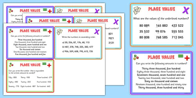 Place Value Maths Challenge Cards - place value, math, maths game