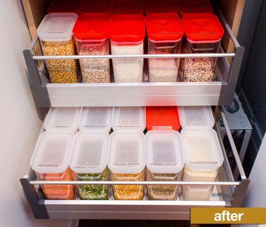 Effective Pantry Shelving Designs For Well Organized: Pantry Before & After: How A Labeler And New Containers