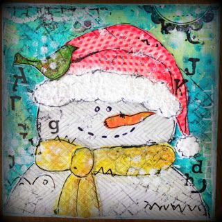 Art journaling: Canvas Bonhomme de neige