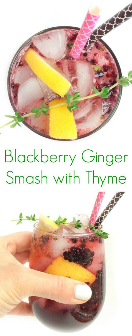 Blackberry Ginger Smash with Thyme - A non-alcoholic drink that's fun to drink during the summer!