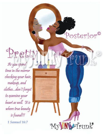 Buy Two Get One FREE-  Pretty Posterior- African American Afro Puff Art Print. $18.00, via Etsy.