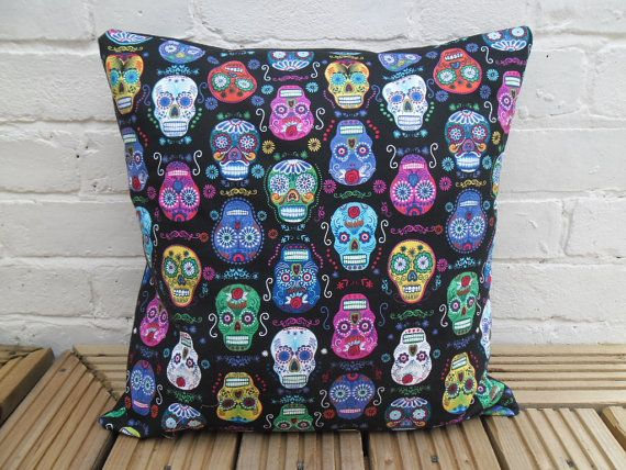 Awesome newly-made cushion cover in a beautiful, vibrant sugar skull design fabric from Alexander Henry.    The cover measures 18x18, so made to