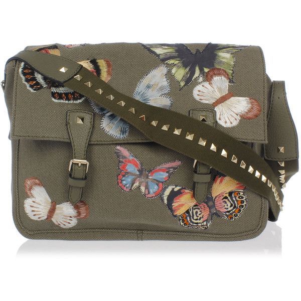 Valentino Garavani Leather and Fabric Embroidery Messenger Bag ($1,290) ❤ liked on Polyvore featuring bags, messenger bags, army green, leather bags, leather shoulder handbags, brown messenger bag, brown bag and embroidered bags
