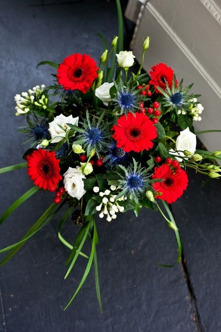 Festive red, white, and blue wedding flowers -  - picture by anneli marinovich photography, uk