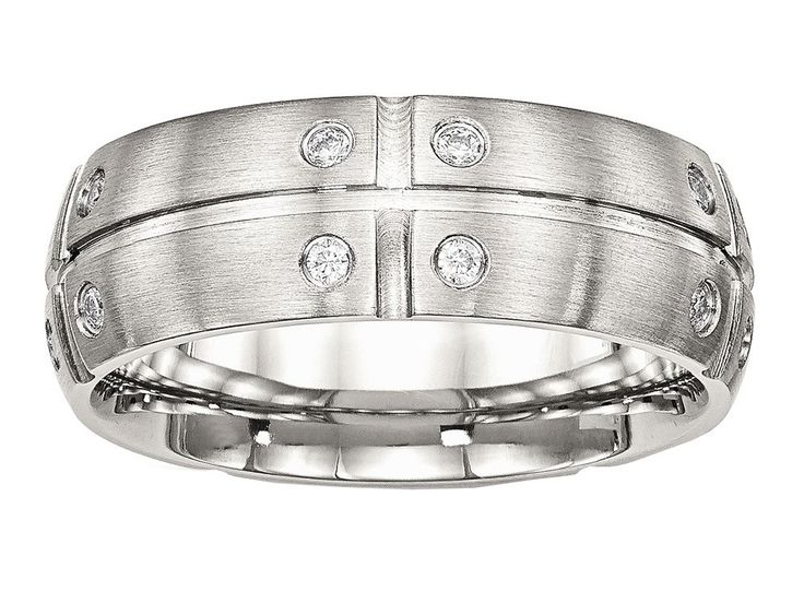 Chisel Stainless Steel Brushed Half Round/grooved CZ Ring