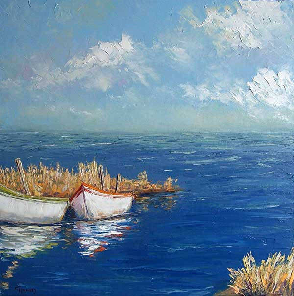 """""""Fishing Boats"""" by Claudia Hansen   Oil on canvas"""