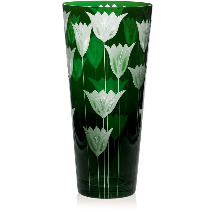 GREEN | Handmade Glass Blown Cone Vase, Tulipa-Green 6090, height: 290 mm | top diameter: 140 mm | Bohemian Crystal | Crystal Glass | Luxurious Glass | Hand Engraved | Original Gift for Everyone | clarescoglass.com