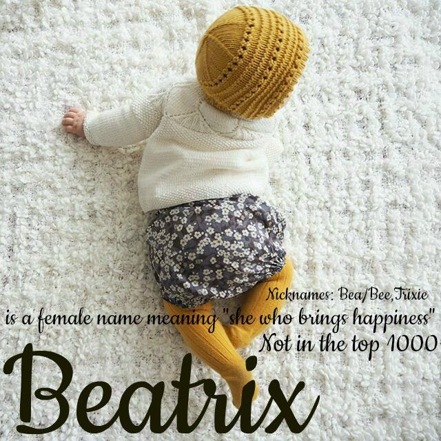Beatrix Is A Latin Female Name Meaning She Who Brings Happiness It Is A Fun Spin On The Classic Beatrice Baby Kids Clothes Baby Girl Fashion Baby Knitting