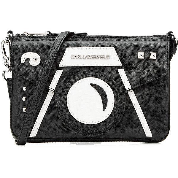 Karl Lagerfeld Camera Shoulder Bag ($135) ❤ liked on Polyvore featuring bags, handbags, shoulder bags, black, print handbags, black shoulder bag, karl lagerfeld purse, pattern purse and karl lagerfeld handbags