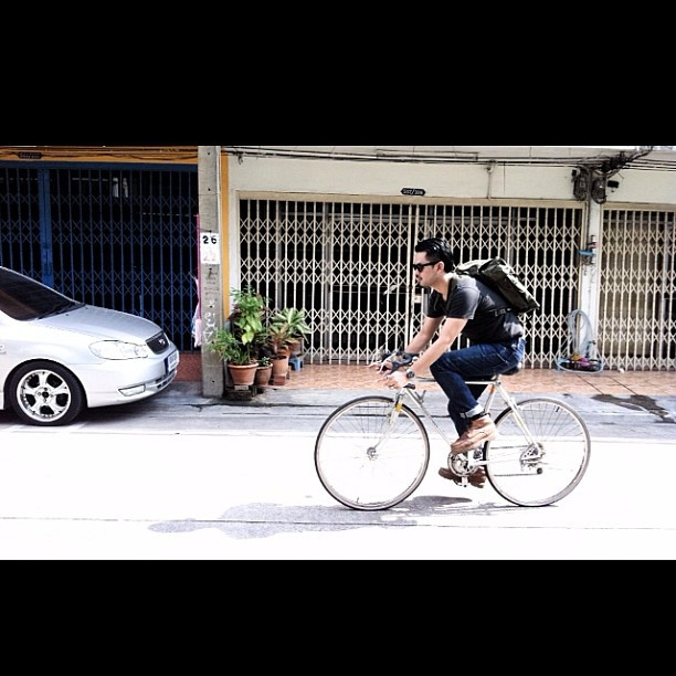 Italian Rucksacks on bike