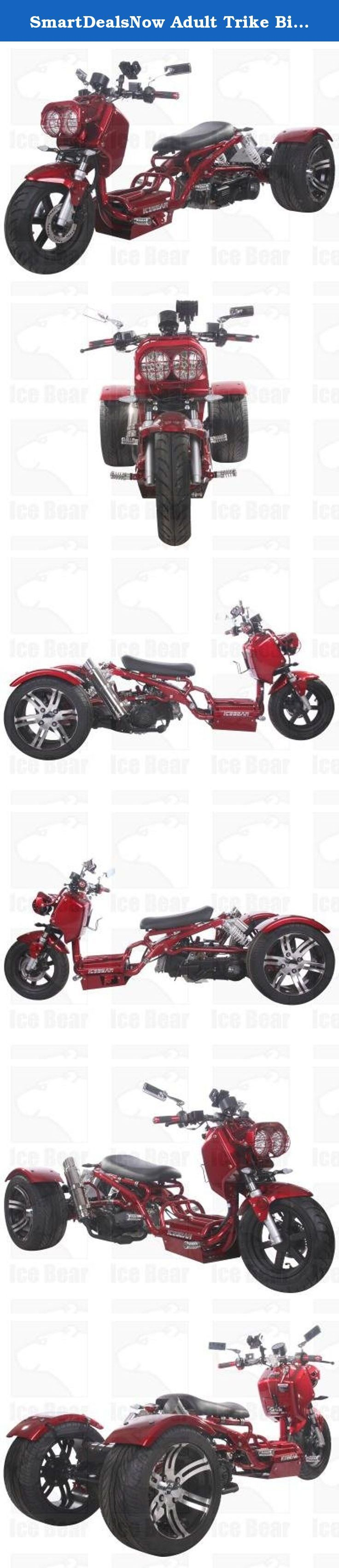 SmartDealsNow Adult Trike Bike PST 150-19N Ice Bear Branded W/ Single Cylinder , 4-Stroke Engine type (Metallic Burgundy). This PST150-19N Trike Comes With Single Cylinder , 4-Stroke Engine type. This trike has 149.5cc Piston Displacement. This trike can go up to maximum speed of 49.7mph depending upon the road conditions.