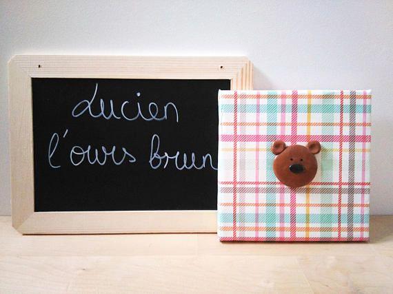 Tableau Lucien l'ours brun Décoration murale Tableau